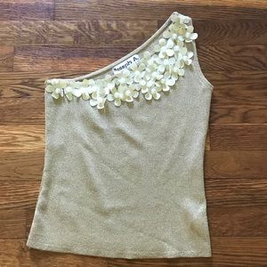 NWOT VTG 90s Joseph A. Golden Stretchy Crop Top S